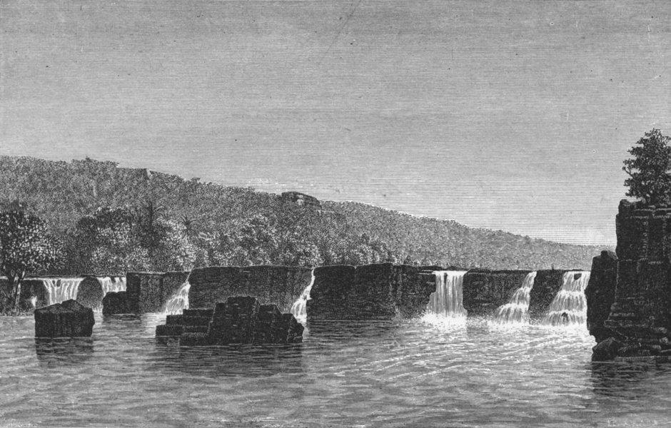 Associate Product SENEGAL. Senegambia. Falls, Upper Senegal 1880 old antique print picture