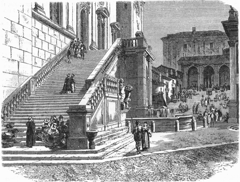 Associate Product ROME. Stairs of Senatorial Palace 1880 old antique vintage print picture