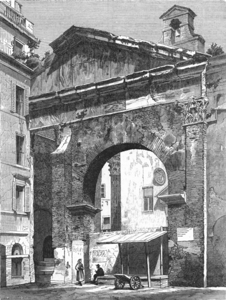 Associate Product ROME. Portico of Octavia 1880 old antique vintage print picture