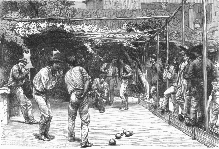 Associate Product ROME. A Game of Bowls in 1880 old antique vintage print picture