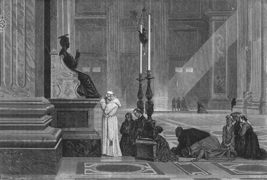 Associate Product ROME. Pope at statue of St Peter 1880 old antique vintage print picture