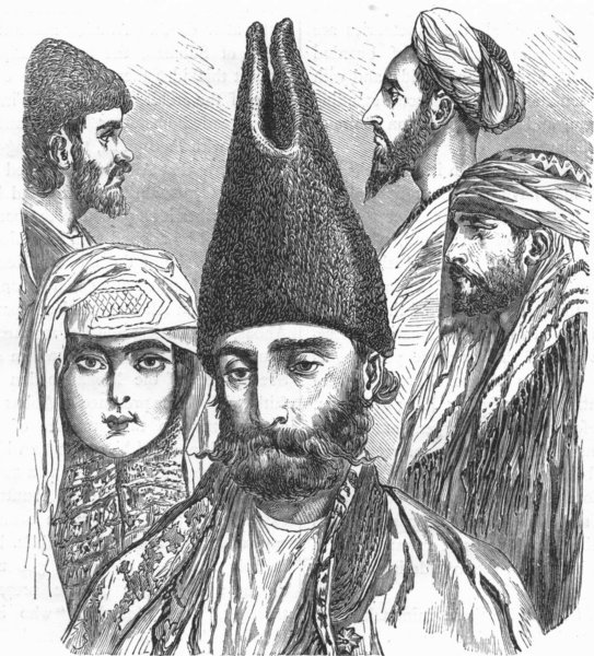IRAN. Types of Persians 1880 old antique vintage print picture