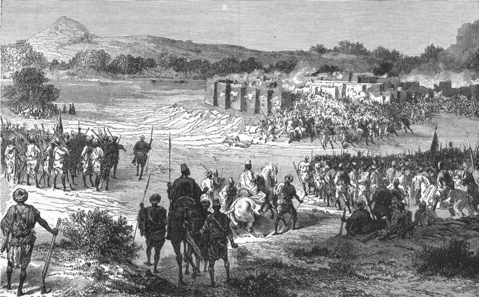 Associate Product SENEGAL. Senegambia. Assault, Fort of Dina 1880 old antique print picture