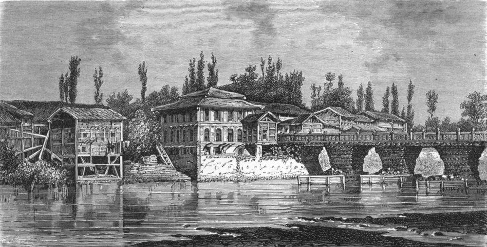 Associate Product INDIA. Kashmir. Bridge at Srinuggur 1880 old antique vintage print picture