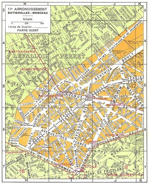 PARIS. 17e Arrondissement Batignolles-Monceau (1) 1920 old vintage map chart