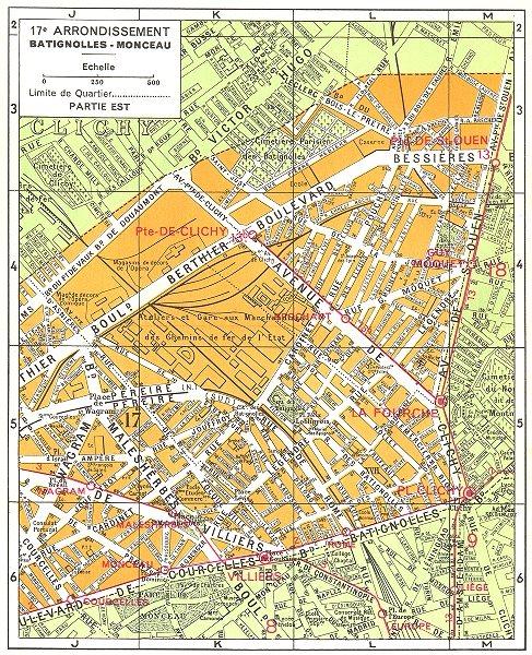 Associate Product PARIS. 17e Arrondissement Batignolles-Monceau (2) 1920 old vintage map chart
