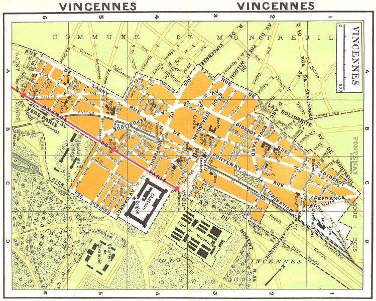 Associate Product PARIS. Vincennes 1920 old vintage map plan chart