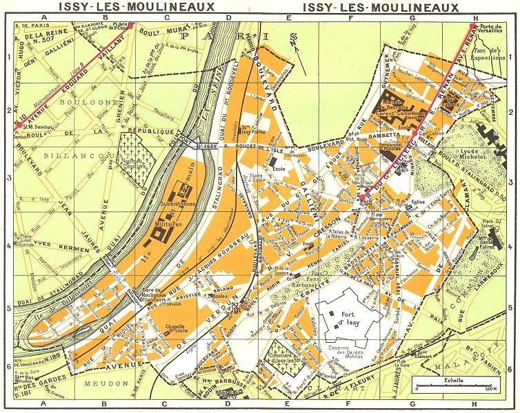 Associate Product PARIS. Issy-les-Moulineaux 1920 old vintage map plan chart