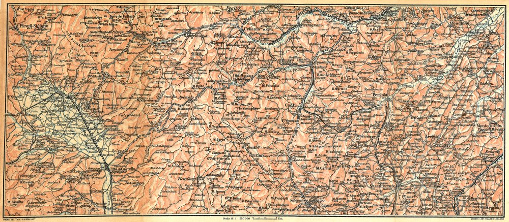 Associate Product ITALY. Appennino Val Tiberina valli dei Metauro, Cesano, Misa ed Esino 1924 map