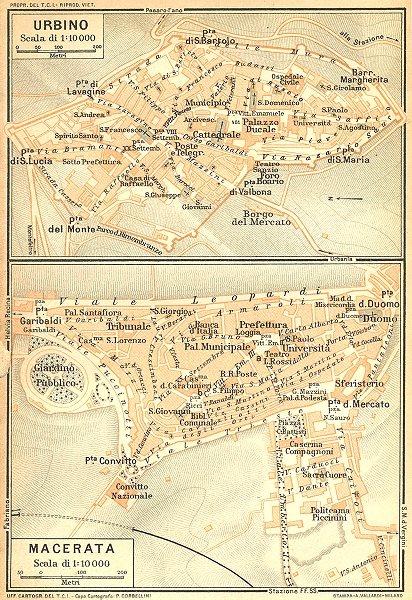 ITALY. Urbino; Macerata. Town plans 1924 old vintage map chart