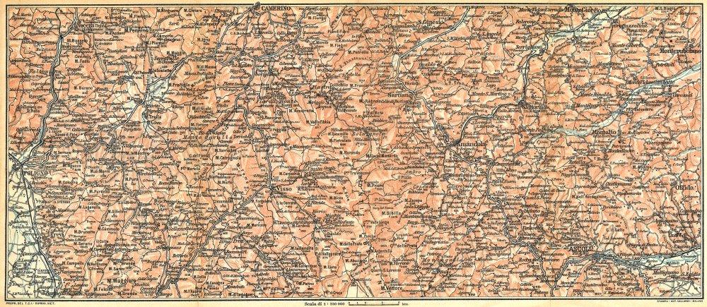 Associate Product ITALY. L'Appennino tra Foligno, Camerino ed Ascoli(I Monti Sibillini) 1924 map