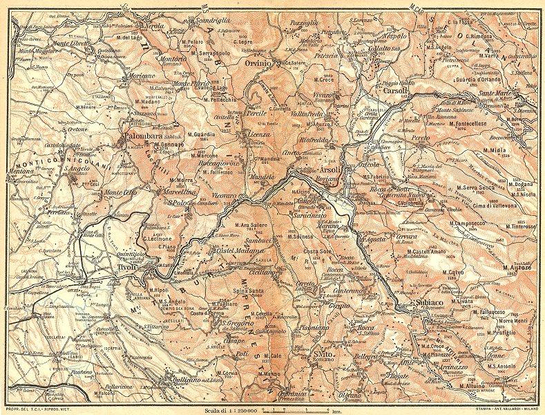 Associate Product ITALY. Sabina Merid,Monti Tiburtini,Prenestini Carseolani Tivoli 1924 old map