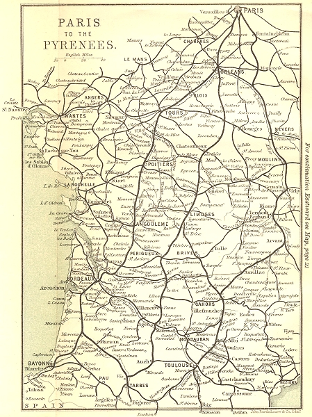 Associate Product FRANCE. Paris to the Pyrenees 1889 old antique vintage map plan chart