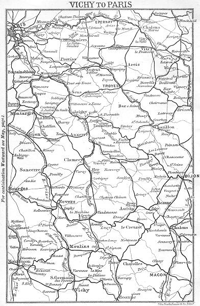 Associate Product ALLIER. Vichy to Paris 1889 old antique vintage map plan chart