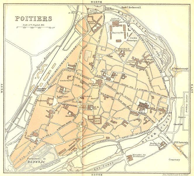 Associate Product VIENNE. Poitiers 1889 old antique vintage map plan chart