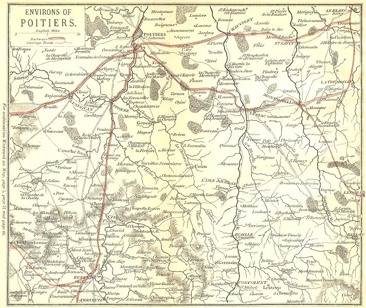 Associate Product VIENNE. Environs of Poitiers 1889 old antique vintage map plan chart
