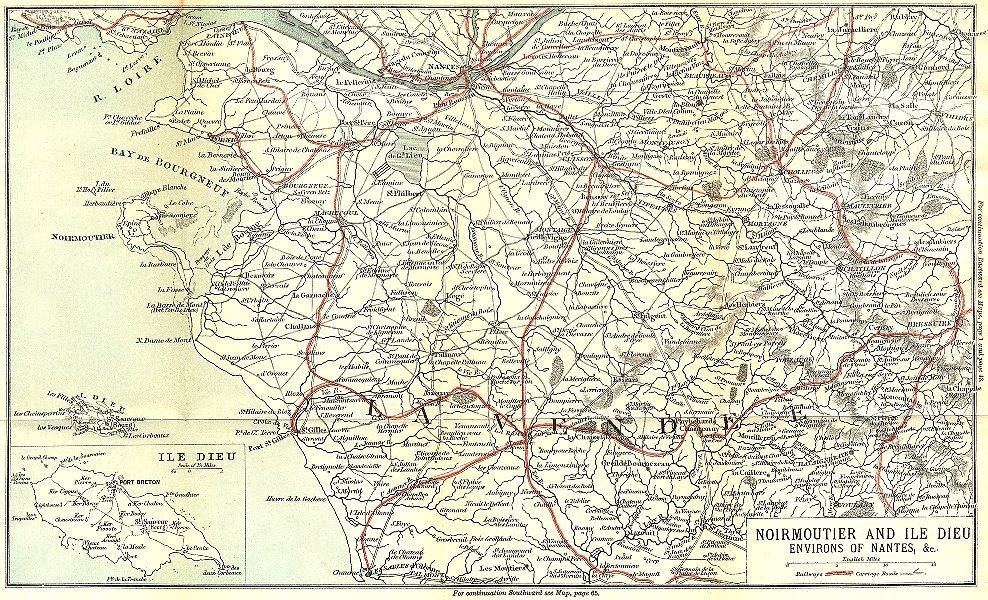 Associate Product LOIRE-ATLANTIQUE. Noirmoutier & Ile Dieu area of Nantes 1889 old map