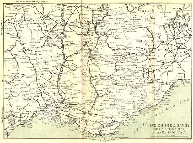 Associate Product RHÔNE. Rhone & Savoy with passes from France into Italy 1889 old antique map