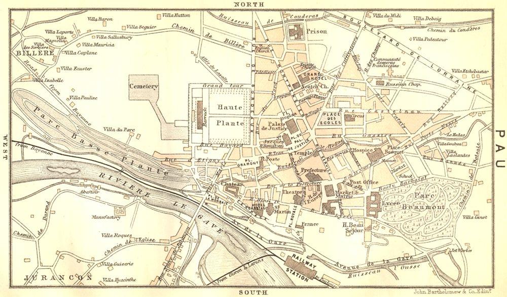 Associate Product PYRÉNÉES-ATLANTIQUES. The Western Pyrenees. Pau 1889 old map chart