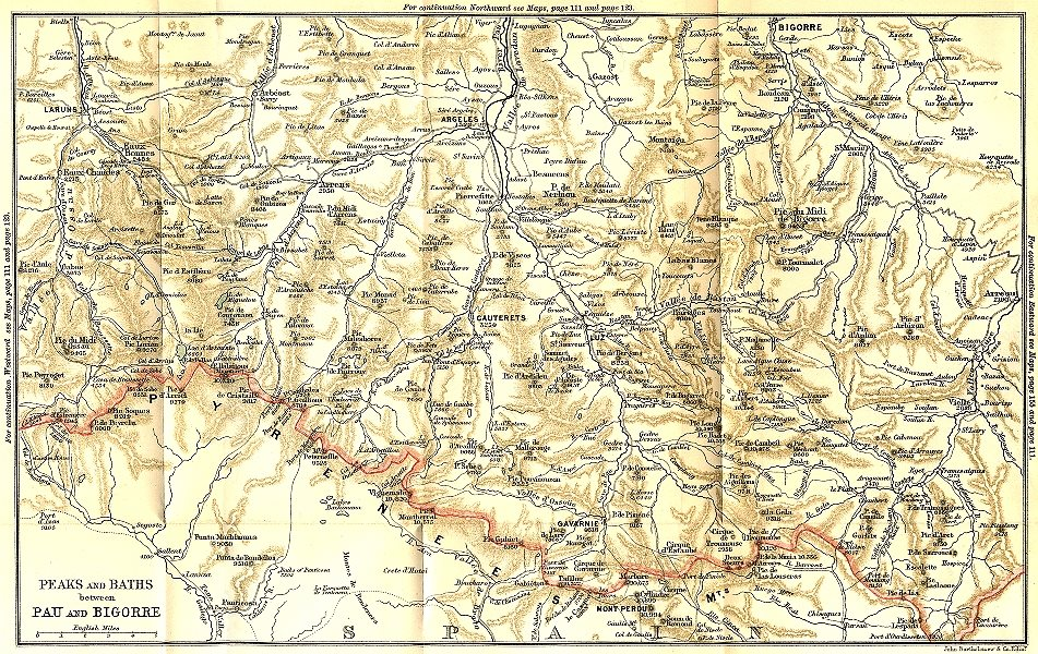 Associate Product PYRÉNÉES-ATLANTIQUES. Western. Peaks & Baths between Pau & Bigorre 1889 map