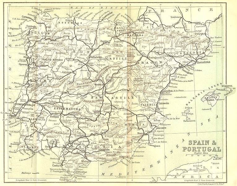 Associate Product SPAIN. Eastern Pyrenees. Spain & Portugal 1889 old antique map plan chart