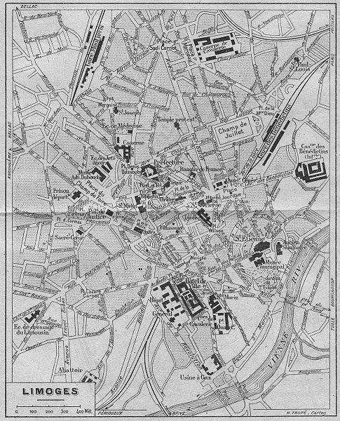 Associate Product HAUTE-VIENNE. Limoges 1923 old vintage map plan chart