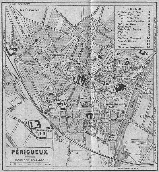 Associate Product DORDOGNE. Périgueux 1923 old vintage map plan chart