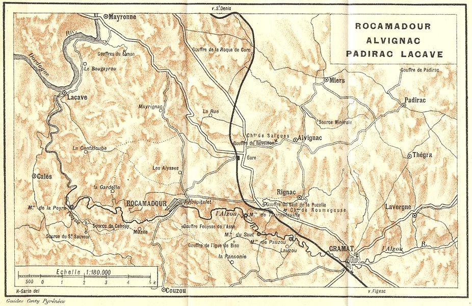 Associate Product LOT. Rocamadour Alvignac Padirac Lacave 1923 old vintage map plan chart