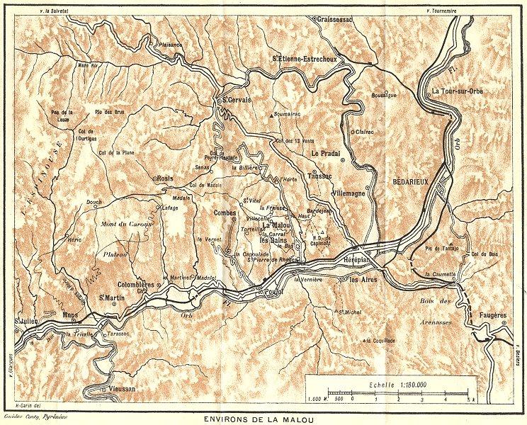 TARN-ET-GARONNE. Environs de la Malou 1923 old vintage map plan chart