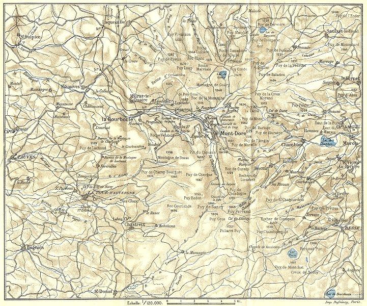 Associate Product PUY-DE-DÔME. Environs de la Bourboule et du Mont-Dore 1923 old vintage map