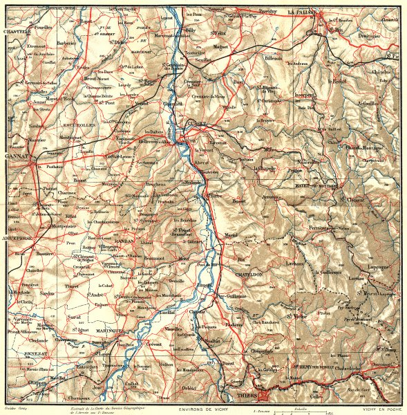 Associate Product ALLIER. Environs de Vichy 1923 old vintage map plan chart