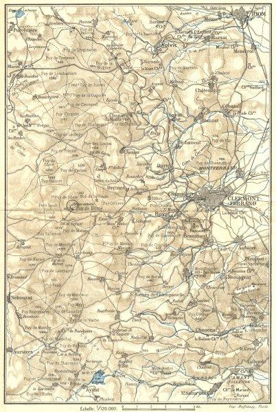 Associate Product PUY-DE-DÔME. Environs de Clermont-Ferrand 1923 old vintage map plan chart