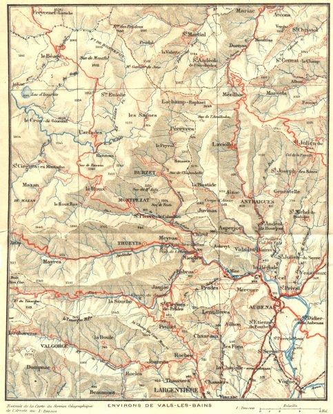 Associate Product RHÔNE. Environs de Vals-les-Bains 1923 old vintage map plan chart