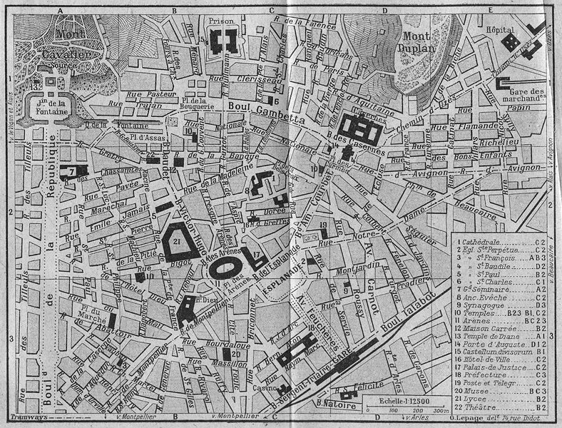 Associate Product RHÔNE. B Natoire 1923 old vintage map plan chart