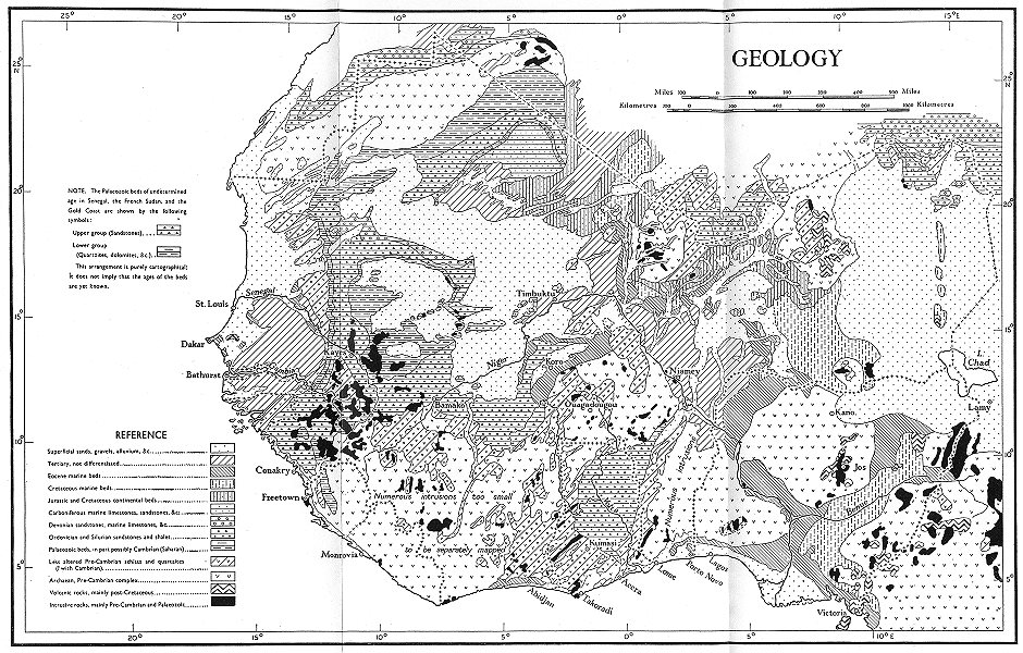 Associate Product AFRICA. physical and geology. Geology 1943 old vintage map plan chart