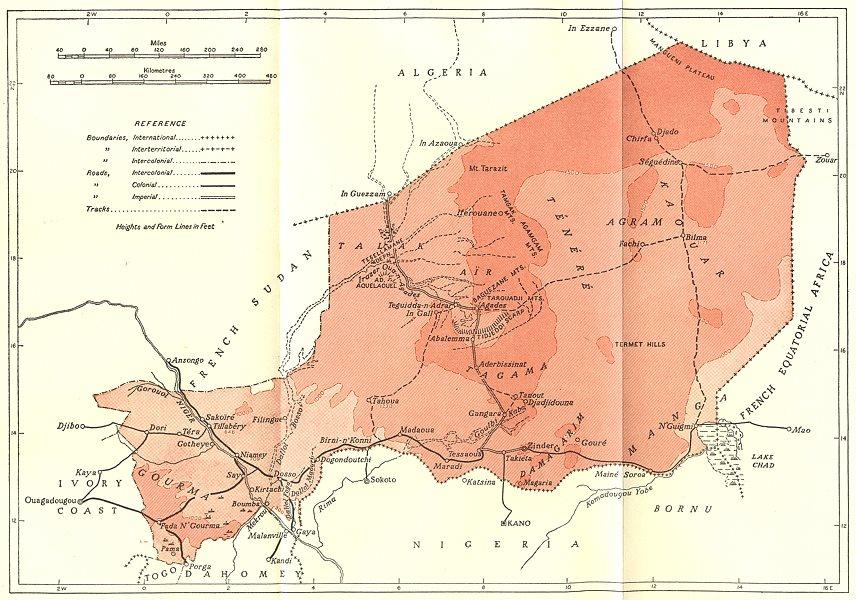 Associate Product NIGER. Niger 1944 old vintage map plan chart