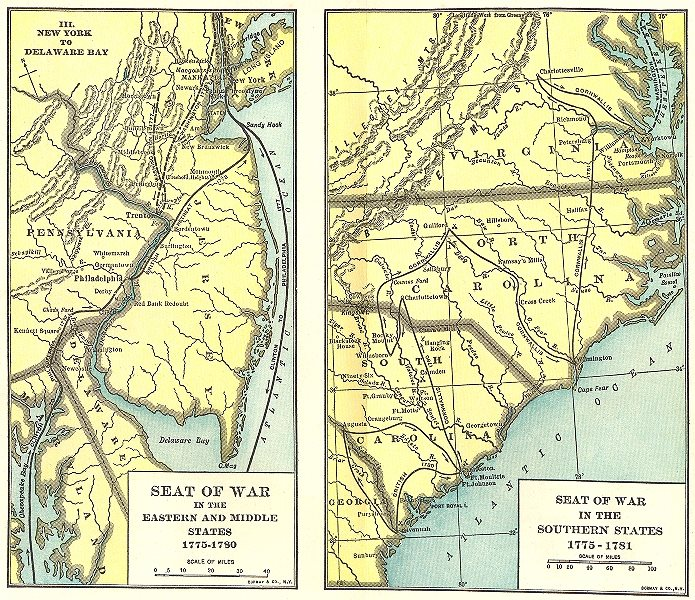 Associate Product USA. 1775-1783. War, Eastern & Mid West  1942 old vintage map plan chart