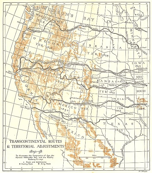 Associate Product USA. Transcontinental Routes & Territorial Adjustments, 1850-58 1942 old map
