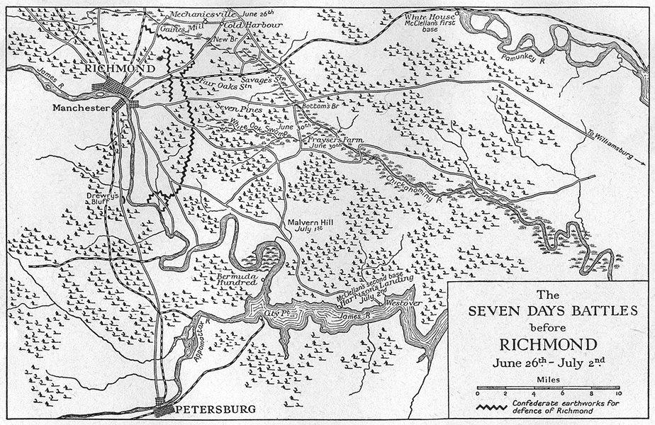 Associate Product USA. War 1862. 7 Days Battles before Richmond June 26-July 2, sketch map 1942