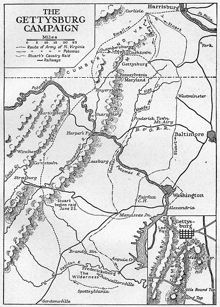Associate Product USA. 1863-1865. The Gettysburg Campaign, sketch map 1942 old vintage chart