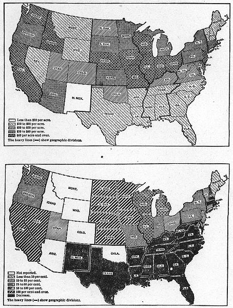 Associate Product USA. Average farm land value 1910; Farmland increase 1860-70 sketch map 1942