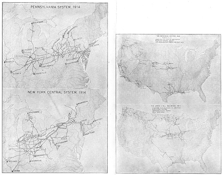 Associate Product USA. Railroads 1912-14; Pennsylvania; New York; Harriman; James Hill 1942 map