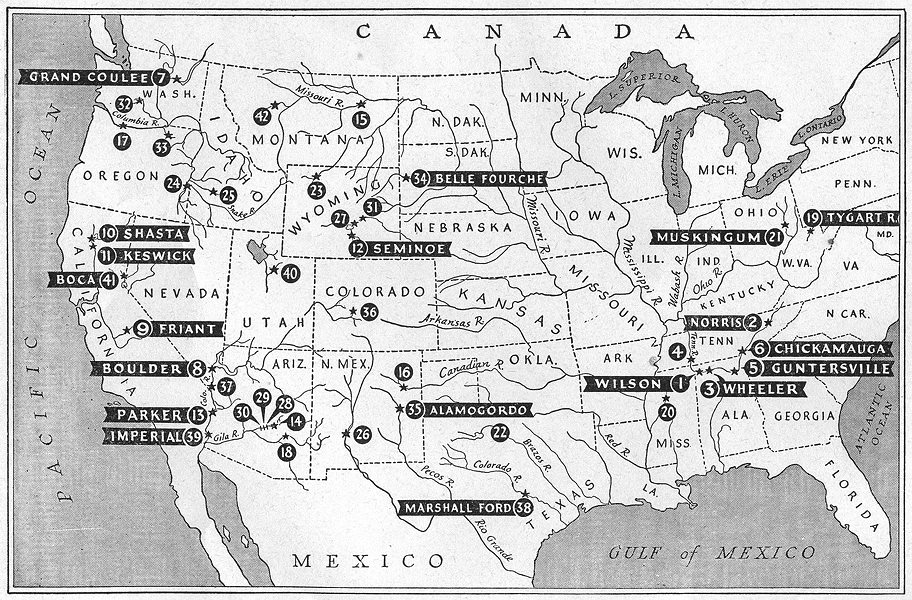 Associate Product USA. Agriculture. Irrigation projects & Roster of Federal Dams, sketch map 1942