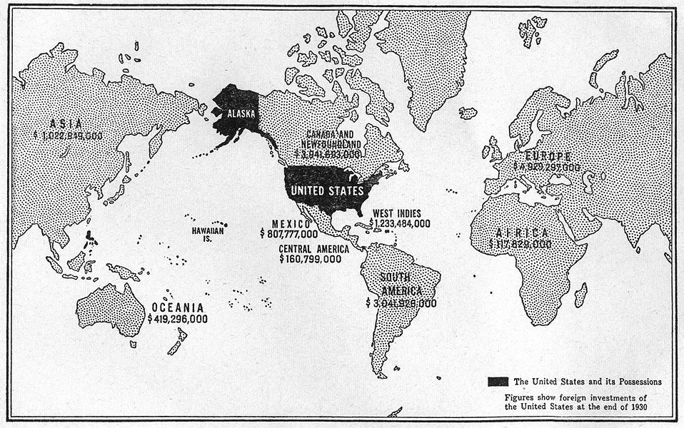Associate Product WORLD. American foreign interests, possessions investment 1930, sketch map 1942