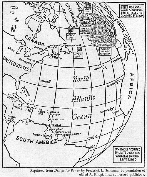Associate Product WW2. UK war zone declared, Berlin. UK bases handed to USA 1940, sketch map 1942