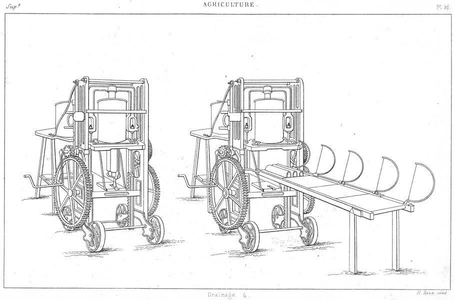 Associate Product FARMING. Agriculture. Drainage 4. Machine Clayton Tuyaux de 1875 old print
