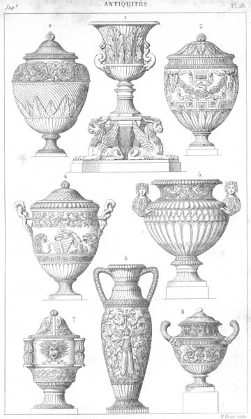 Associate Product ROME. Vases en marbre, a Rome 1875 old antique vintage print picture