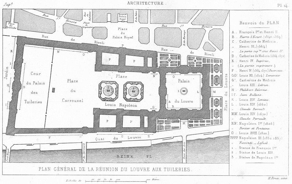 Associate Product PARIS. Architecture. Plan General de reunion du Louvre aux Tuileries 1875