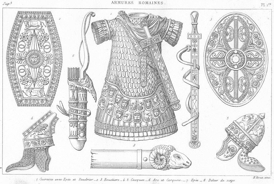 Associate Product ROMAN ARMOUR. Breastplate sword belt Shield Helmet bow quiver Aries 1875 print