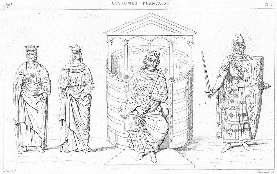 FRANCE. Hugues capet-Constance sa femme; Charles Chauve; Geoffroi Bel 1875